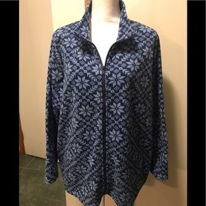 Snowflake fleece zip front jacket 1x